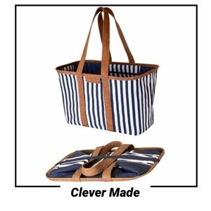 NWT Blue striped Collapsible Vegan Leather Tote